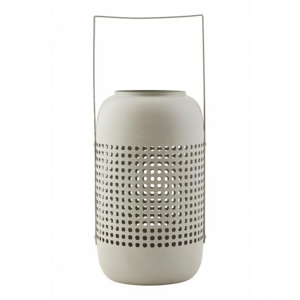 Lanterne Panel en métal ajouré - Gris clair (L)