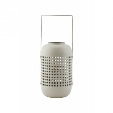 Lanterne Panel en métal ajouré - Gris clair (S)