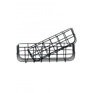 Corbeille en métal - Noir (Hauteur 8 cm)