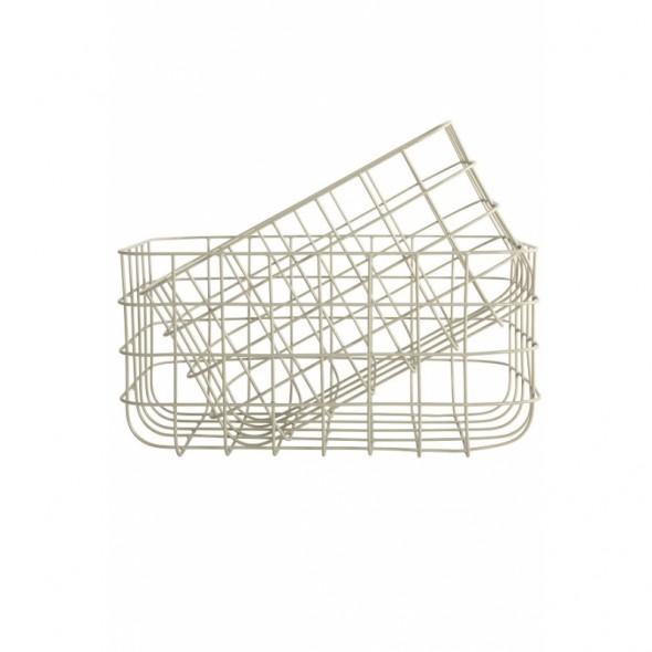 Corbeille en métal - Gris (Hauteur 16 cm)