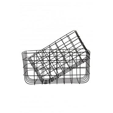Corbeille en métal - Noir (Hauteur 16 cm)