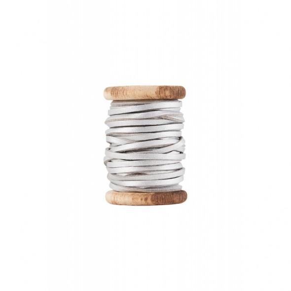 Bobine de fil de cuir - Argent (5 mètres)