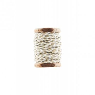 Bobine de ficelle tressée twine - White/Dusty Green (20 mètres)