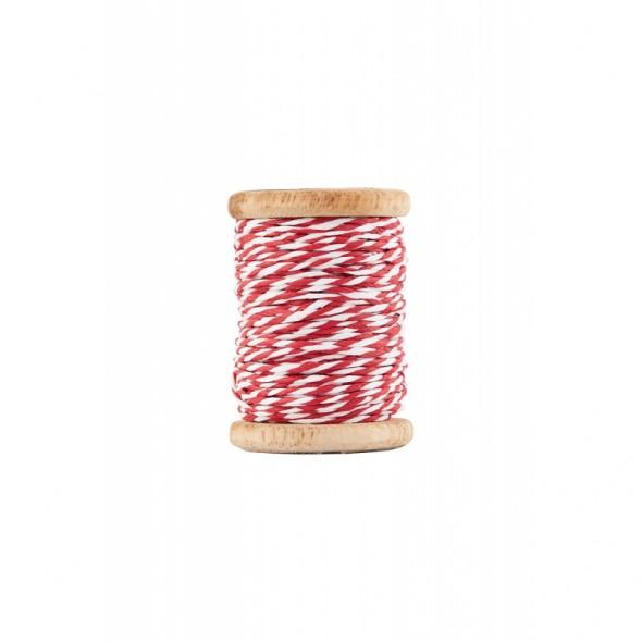 Bobine de ficelle tressée twine - White/Red (20 mètres)