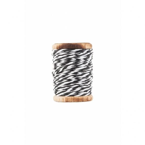 Bobine de ficelle tressée twine - White/Black (20 mètres)