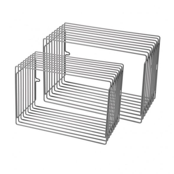 Lot de 2 étagères métal rectangle - Gris