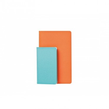 Set de 2 cahiers Studubook - Bleu clair/orange