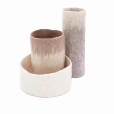 Set de 3 caches vases bicolores - naturel