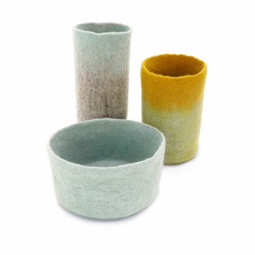 Set de 3 caches vases bicolores - tendre