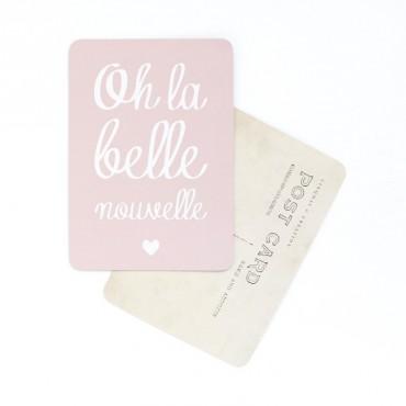 Carte Oh La Belle Nouvelle - Rose poudre