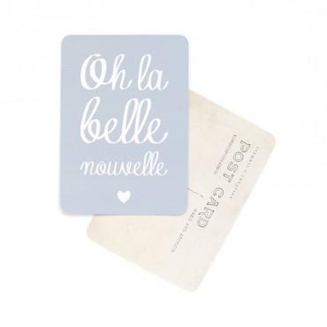 Carte Oh La Belle Nouvelle - Gris bleu