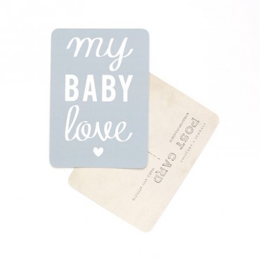 Carte My Baby Love - Gris bleu