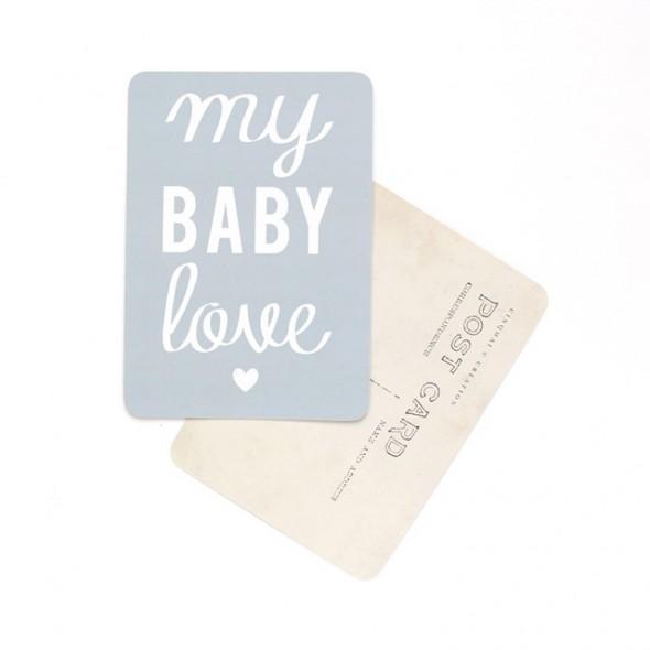 Carte My Baby Love - Gris bleu