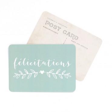 Carte Félicitations - Vert menthe
