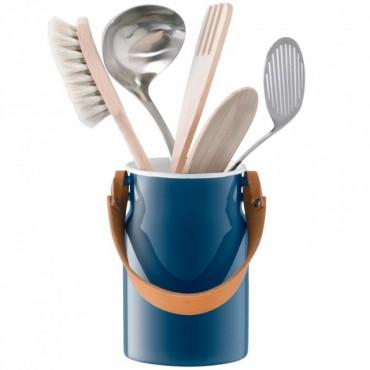Bocal Utility à ustensiles avec poignée en cuir - Bleu