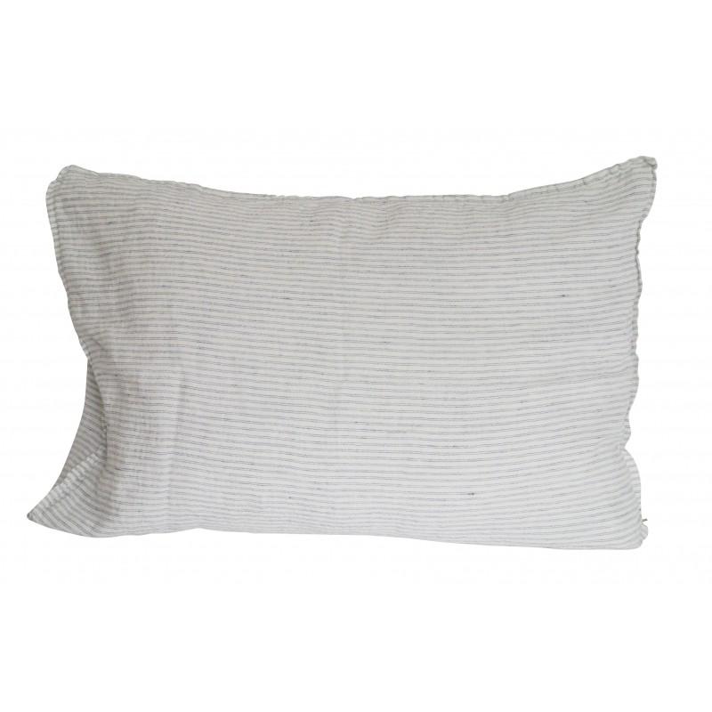 housse de coussin rayures pyjama 50x70 cm linge particulier perlin paon paon. Black Bedroom Furniture Sets. Home Design Ideas