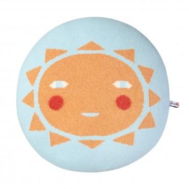 Coussin Sunshine - Bleu clair / Pêche