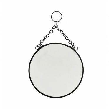 Miroir rond à suspendre - Noir (PM)