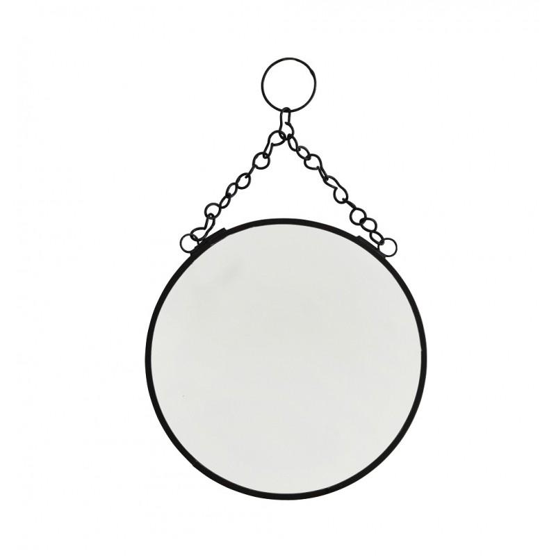 Miroir rond suspendre noir pm madam stoltz perlin paon paon - Miroir rond a suspendre ...