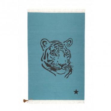 Tapis Gipsy - Tigre (bleu canard)