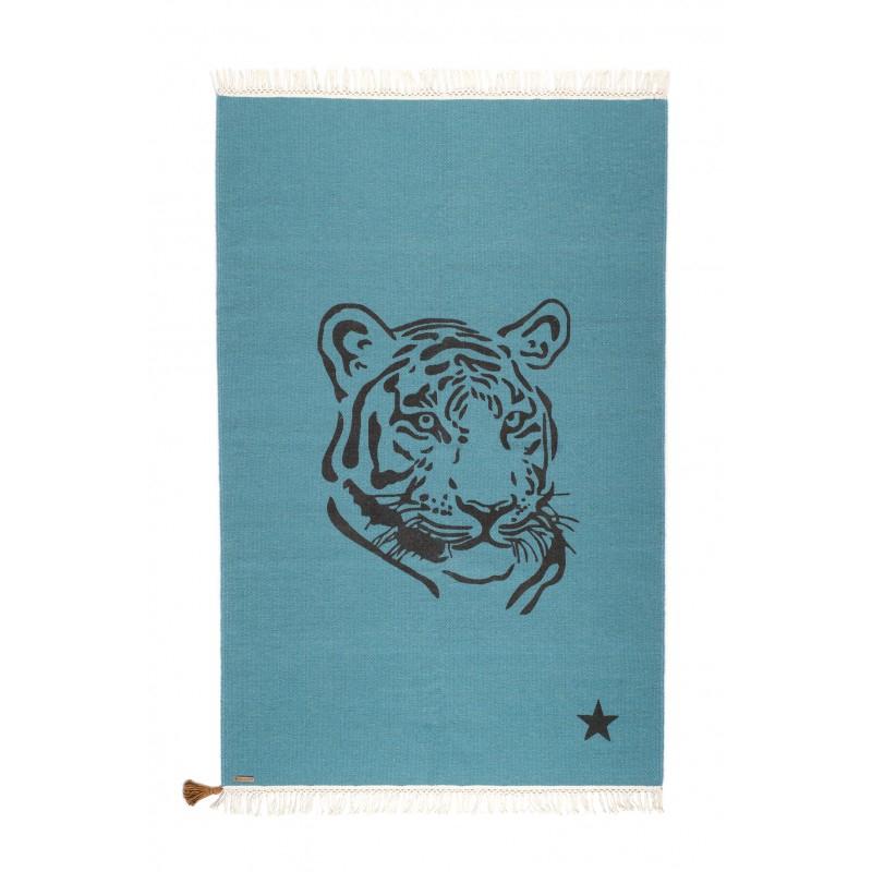 Tapis Gipsy Tigre Bleu Canard Varanassi Perlin Paon Paon